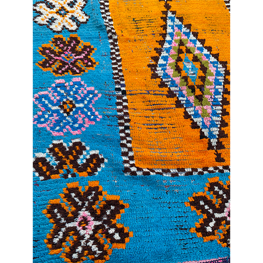 Authentic orange and blue Moroccan carpet - Kantara | Moroccan Rugs