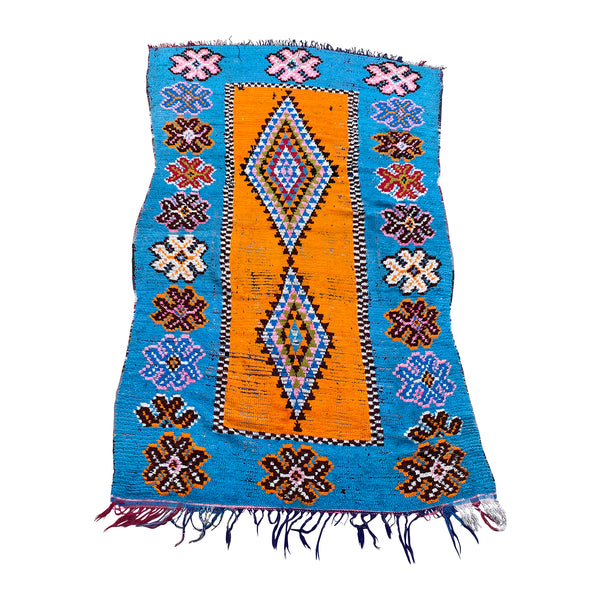 Medium colorful blue and orange boucherouite Moroccan rug - Kantara | Moroccan Rugs
