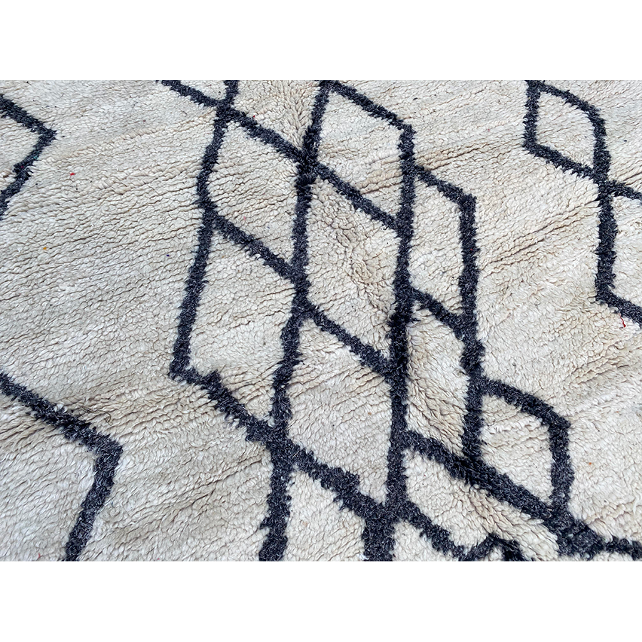 White and black Moroccan rug with abstract diamond pattern - Kantara | Moroccan Rugs