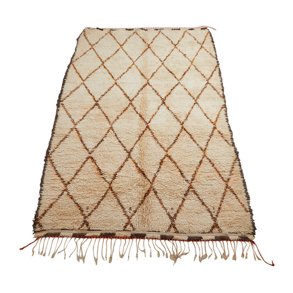 White area rug with diamond pattern - Kantara | Moroccan Rugs