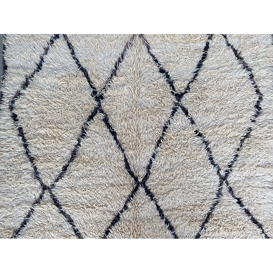Authentic white Moroccan diamond rug  - Kantara | Moroccan Rugs