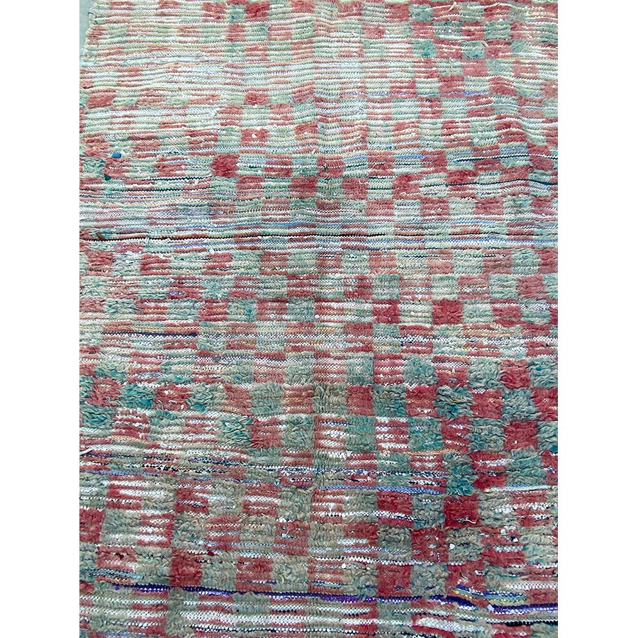 Turquoise and red Moroccan vintage rug - Kantara | Moroccan Rugs