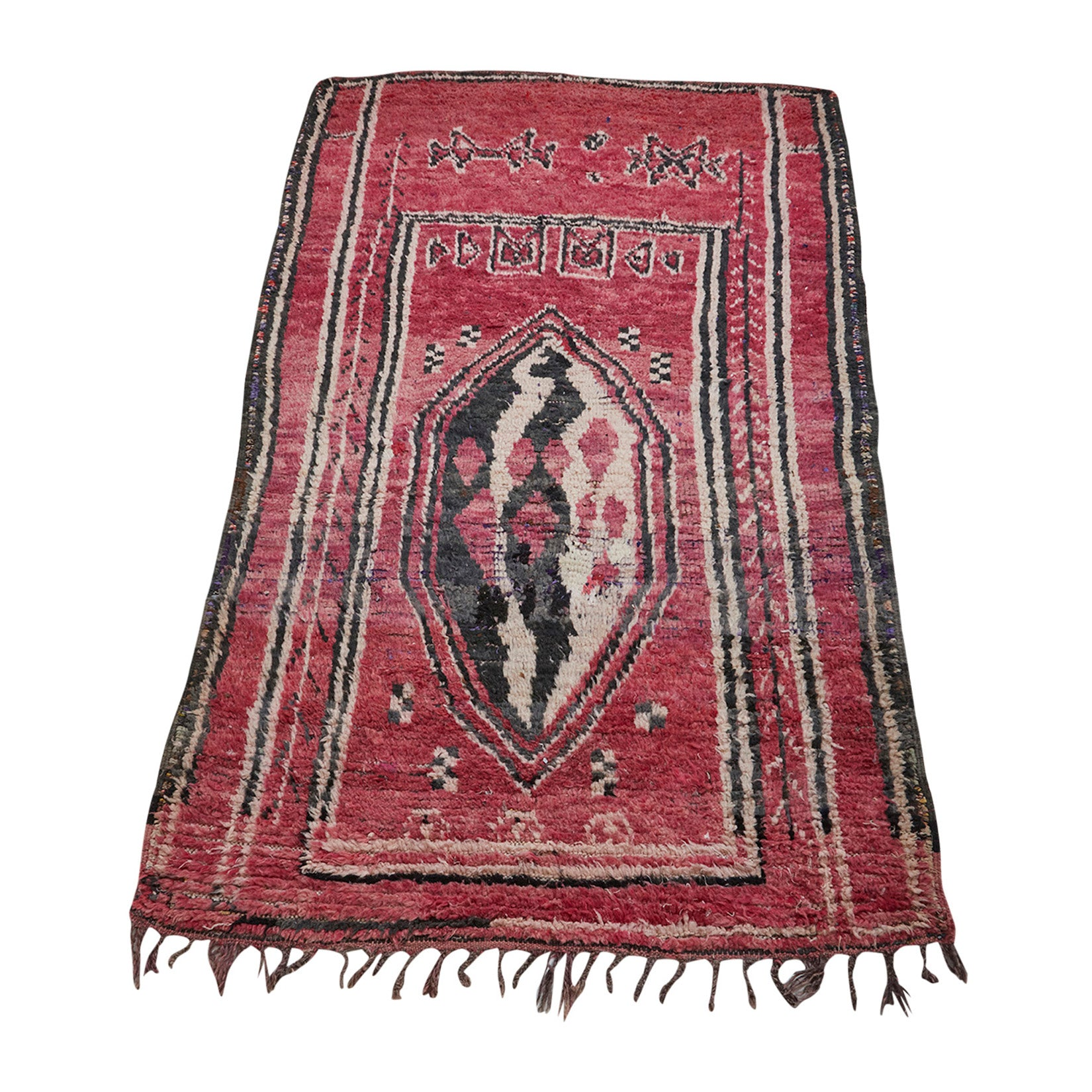 Red vintage berber carpet with central motif - Kantara | Moroccan Rugs