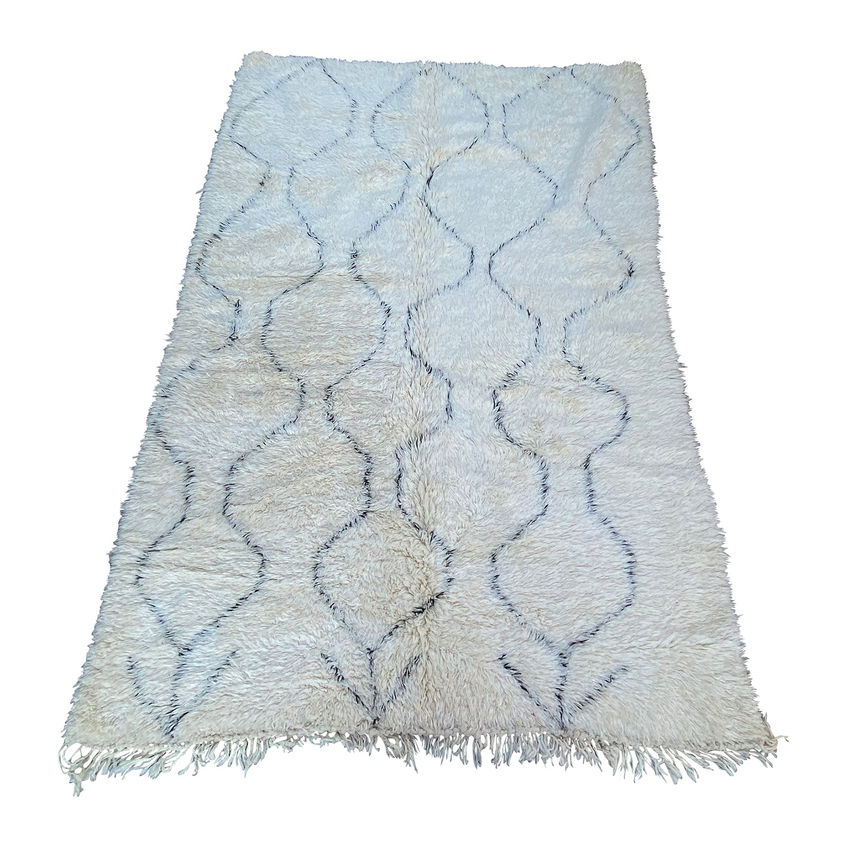 Large white berber carpet with geometric pattern design - Kantara | Moroccan Rugs