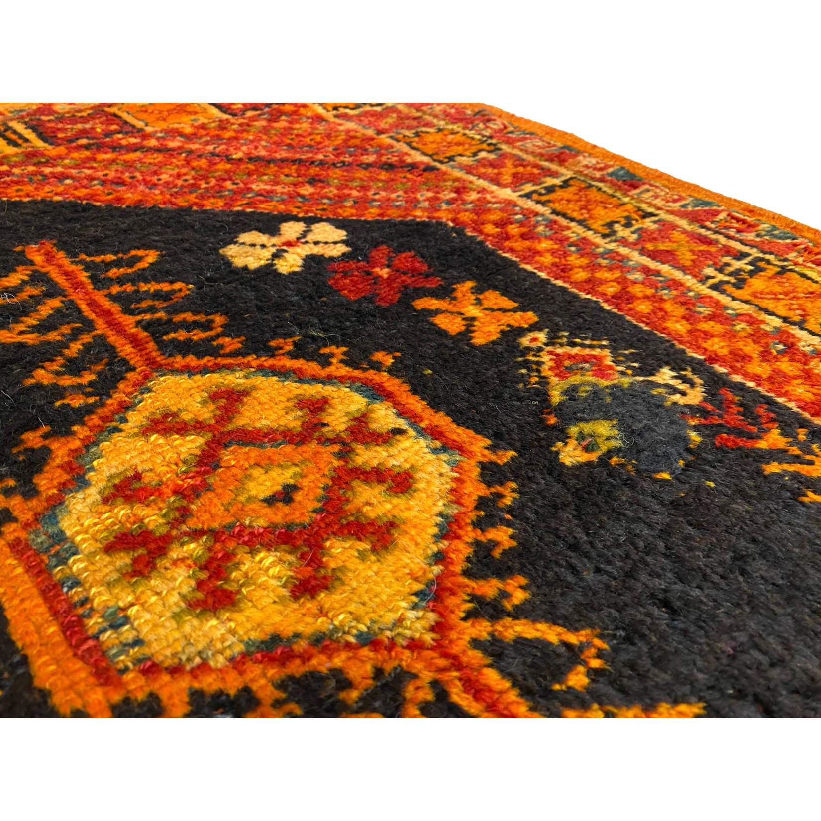 Orange handknotted wool berber carpet - Kantara | Moroccan Rugs