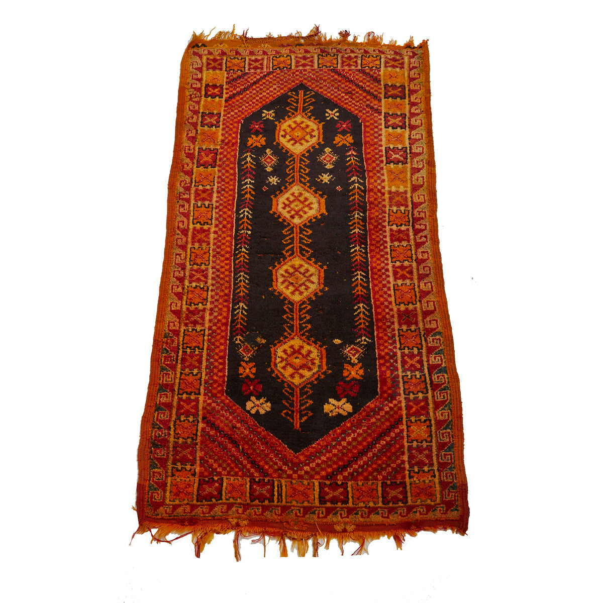 Orange Moroccan rug with traditional pattern design - Kantara | Moroccan Rugs