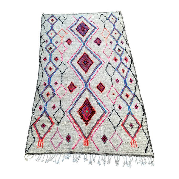 White Moroccan diamond rug with pink detail  - Kantara | Moroccan Rugs