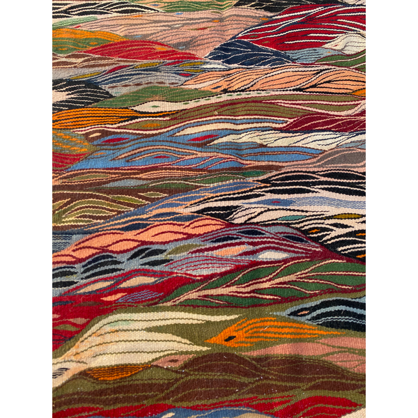 Colorful low pile Moroccan throw rug  - Kantara | Moroccan Rugs