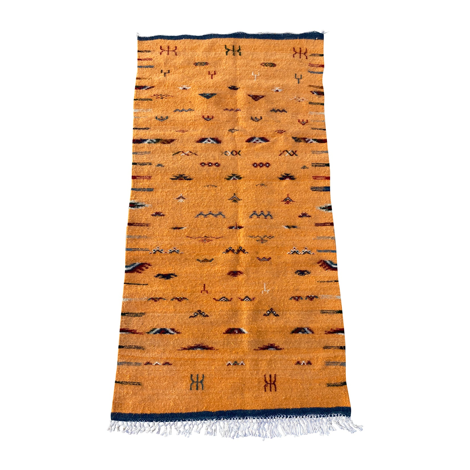 Yellow Moroccan throw rug featuring tribal motifs - Kantara | Moroccan Rugs