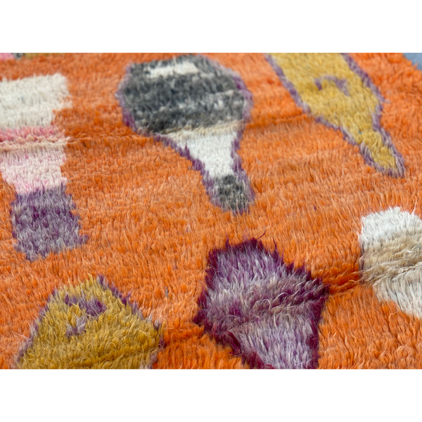 Unique orange Moroccan diamond rug - Kantara | Moroccan Rugs
