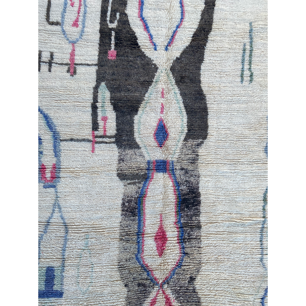 White area rug with unique art deco pattern design - Kantara | Moroccan Rugs