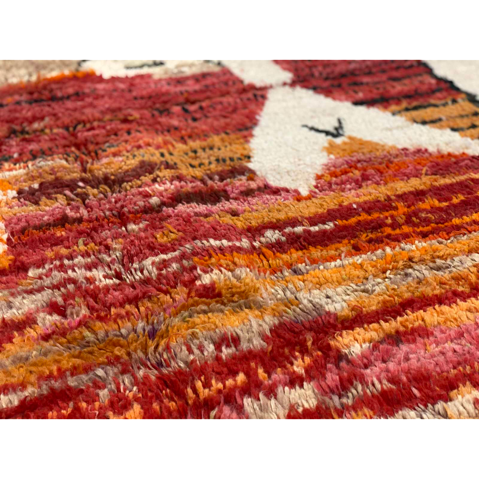 Pink and orange art deco Moroccan area rug - Kantara | Moroccan Rugs