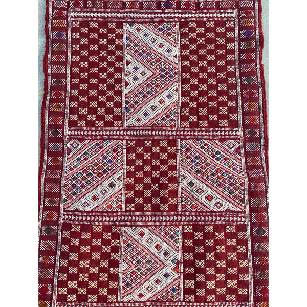 Red authentic Moroccan flatweave kilim - Kantara | Moroccan Rugs