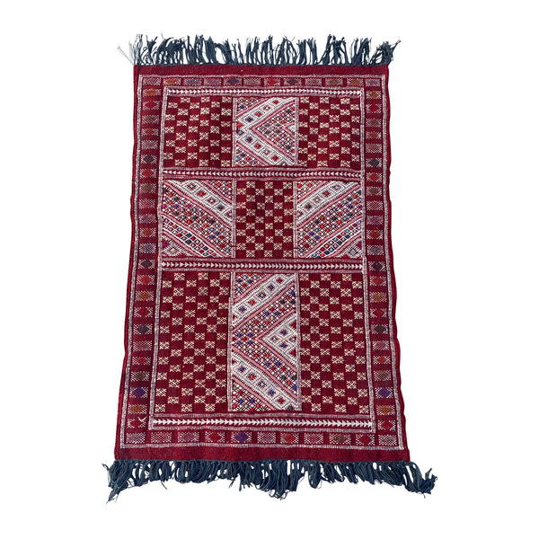 Red vintage Moroccan throw rug - Kantara | Moroccan Rugs