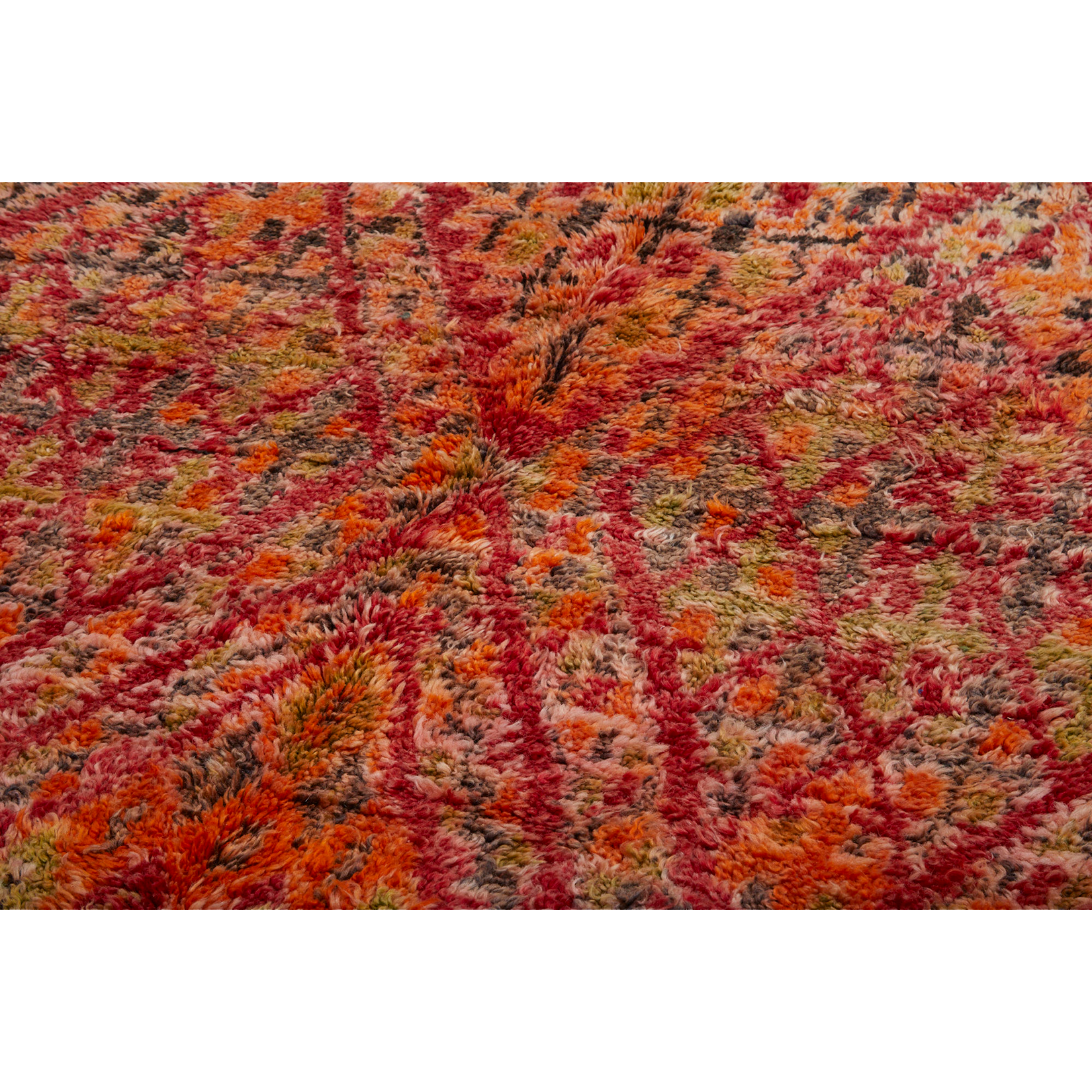 Geometric diamond berber carpet in red and orange - Kantara | Moroccan Rugs