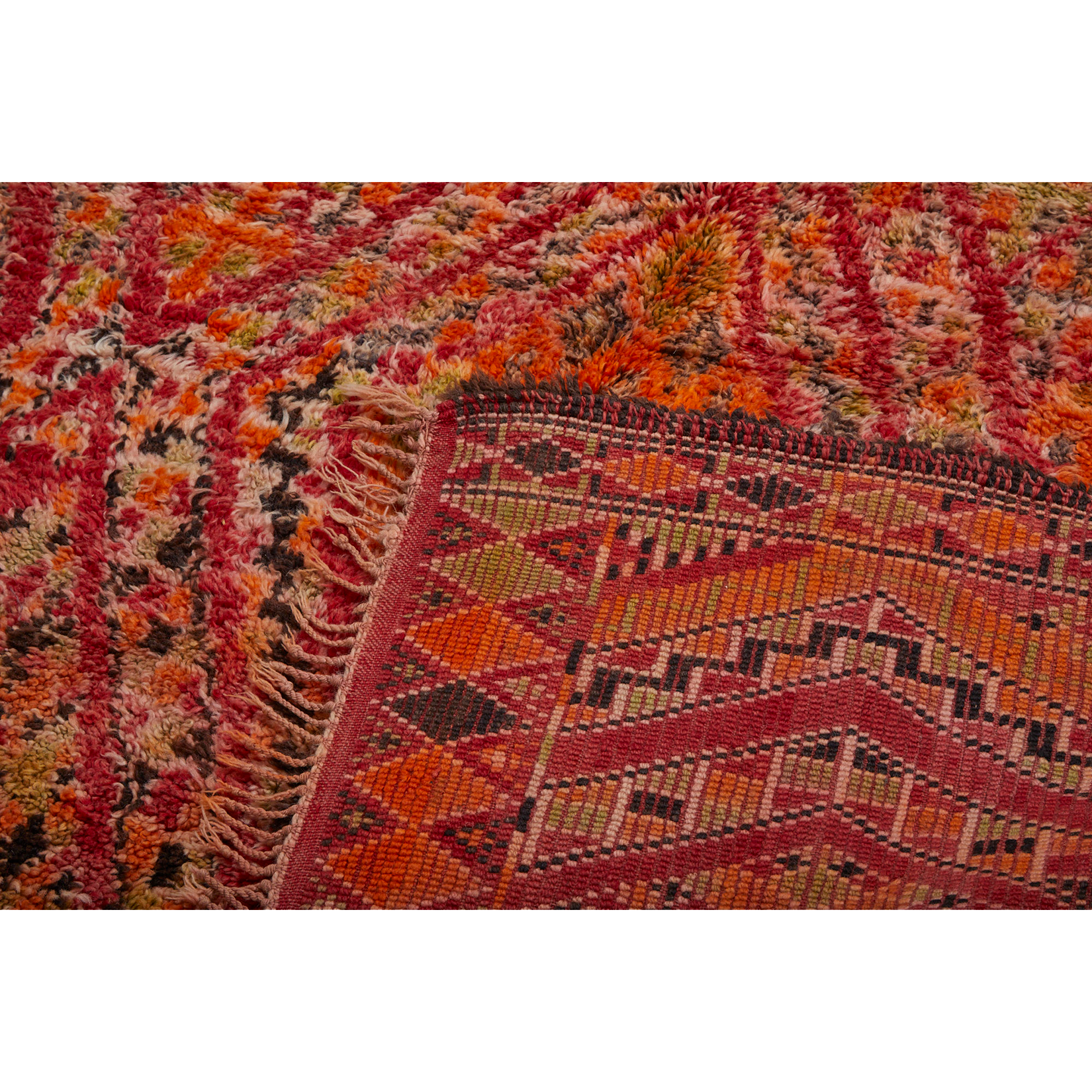 Authentic beni mguild moroccan berber rug in red - Kantara | Moroccan Rugs