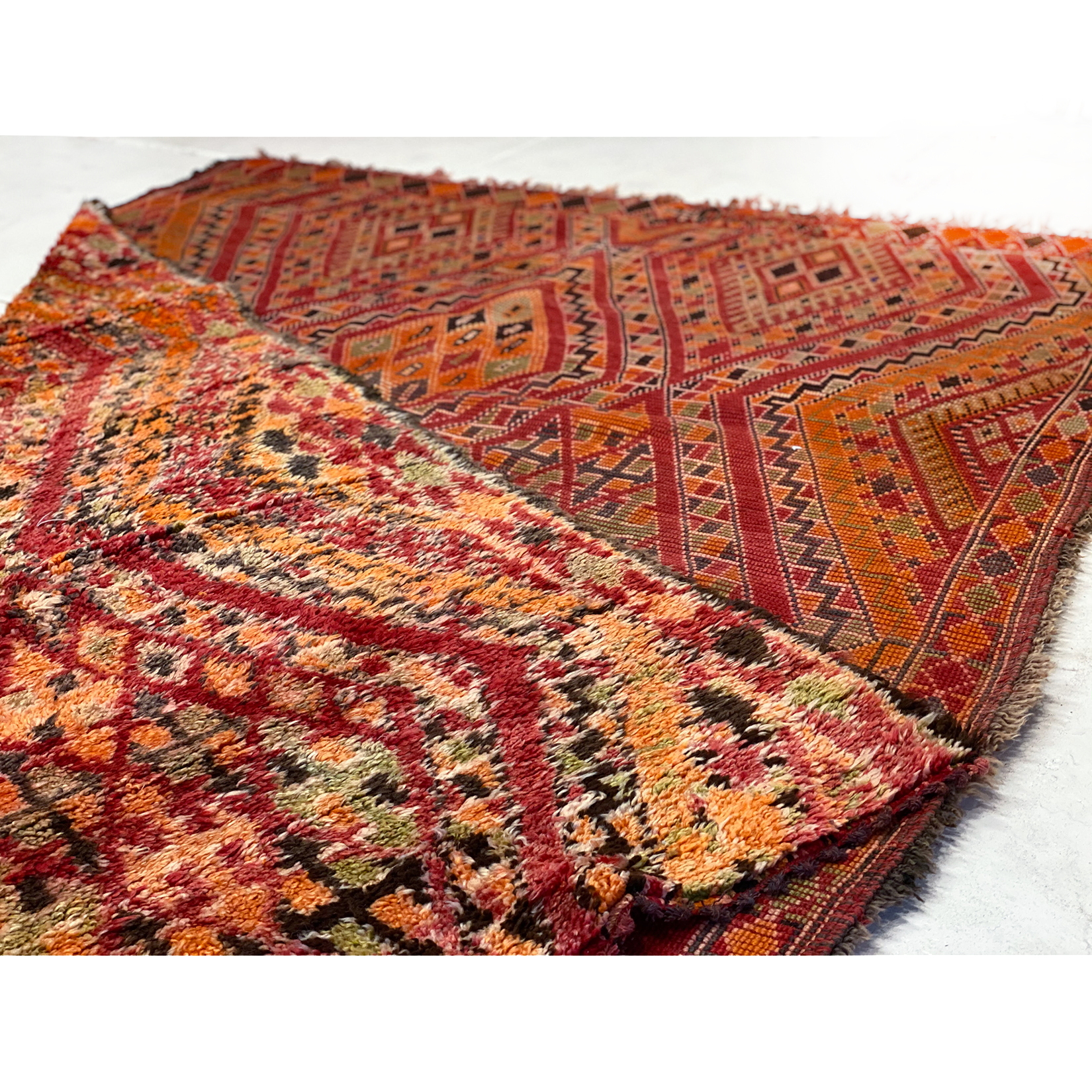 Rare red and orange Moroccan beni mguild rug - Kantara | Moroccan Rugs