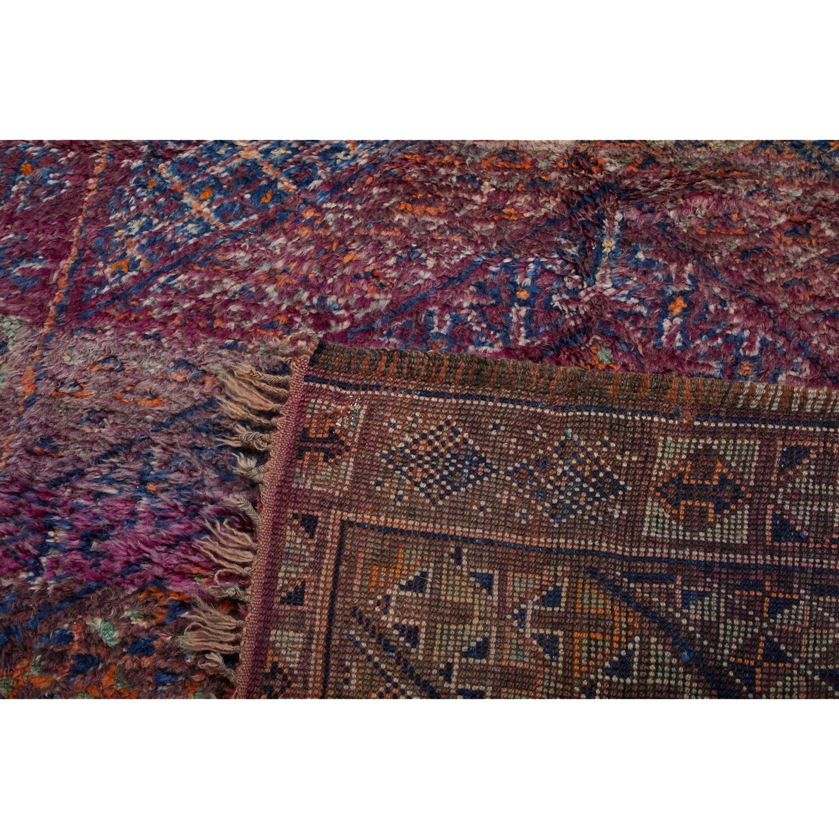 Purple Moroccan area rug with geometric pattern design - Kantara | Moroccan Rugs