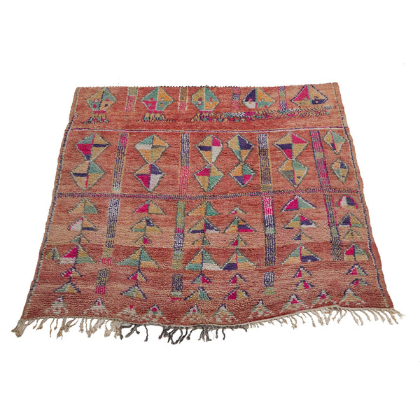 Pink and orange Moroccan rug with geometric pattern - Kantara | Moroccan Rugs