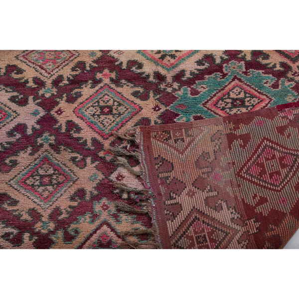 Colorful vintage berber carpet with diamond motifs - Kantara | Moroccan Rugs