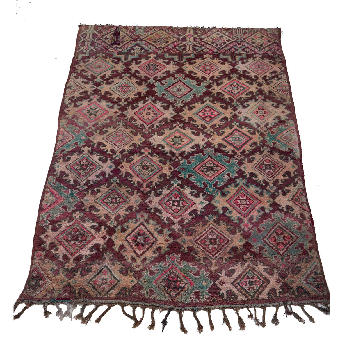 Purple vintage Moroccan area rug with geometric pattern - Kantara | Moroccan Rugs