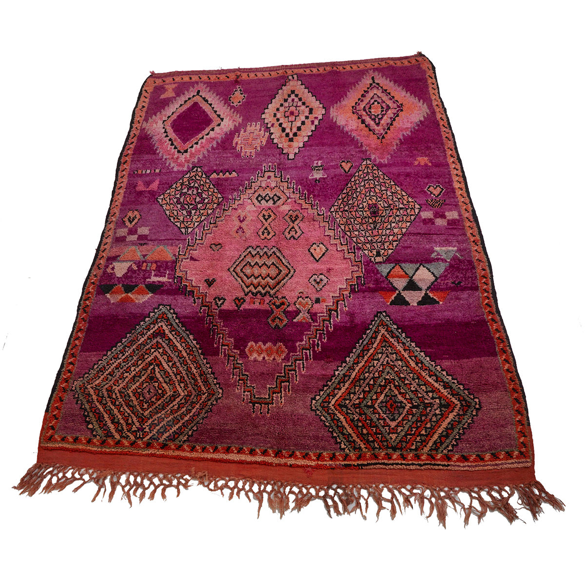 Modern Moroccan diamond rug in shades of pink and purple - Kantara | Moroccan Rugs