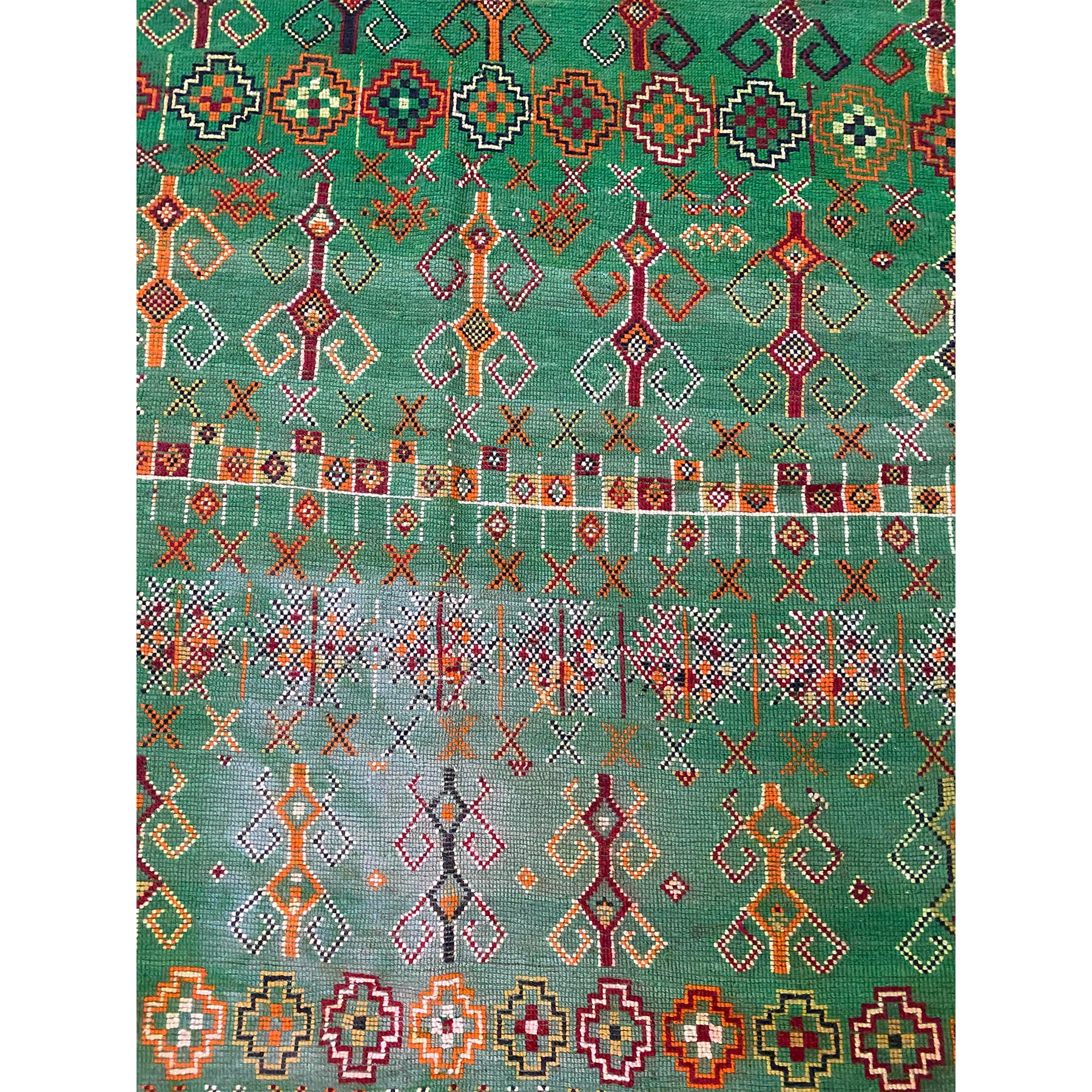 Contemporary green Beni Mguild Moroccan rug with traditional pattern design - Kantara | Moroccan Rugs