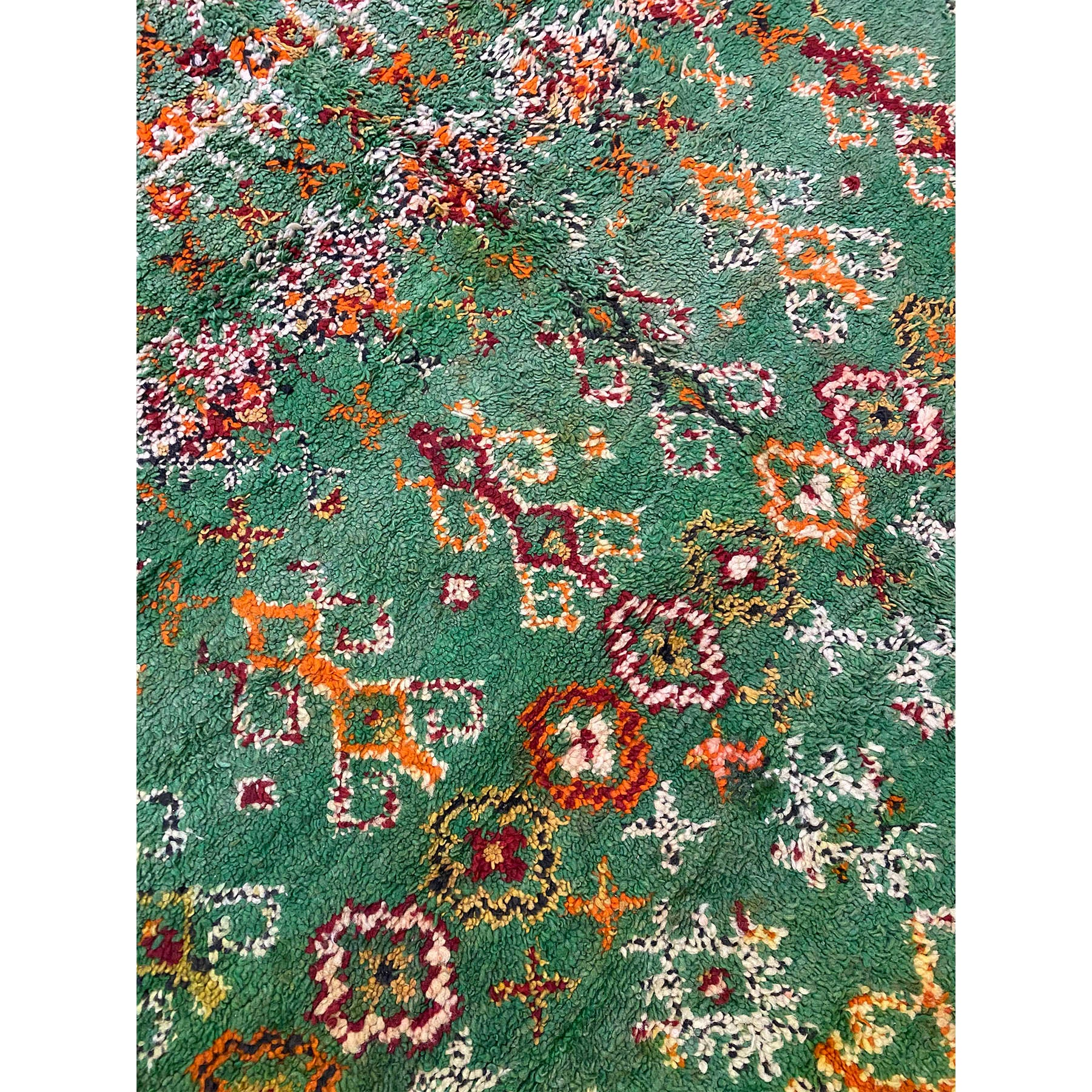 Green Beni Mguild medium sized Moroccan rug with red and orange details - Kantara | Moroccan Rugs