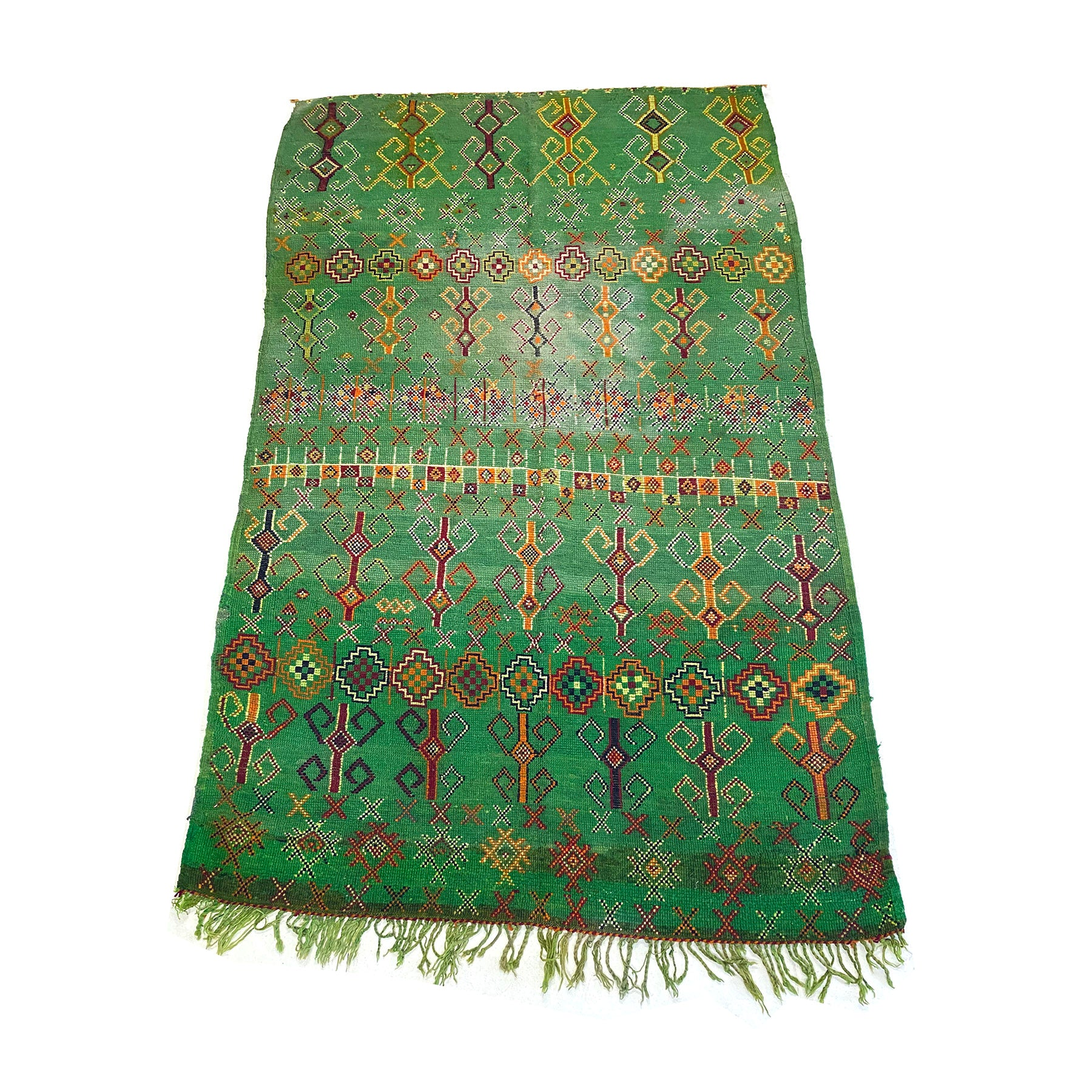 Handknotted wool berber carpet in kelly green with colorful pattern design - Kantara | Moroccan Rugs