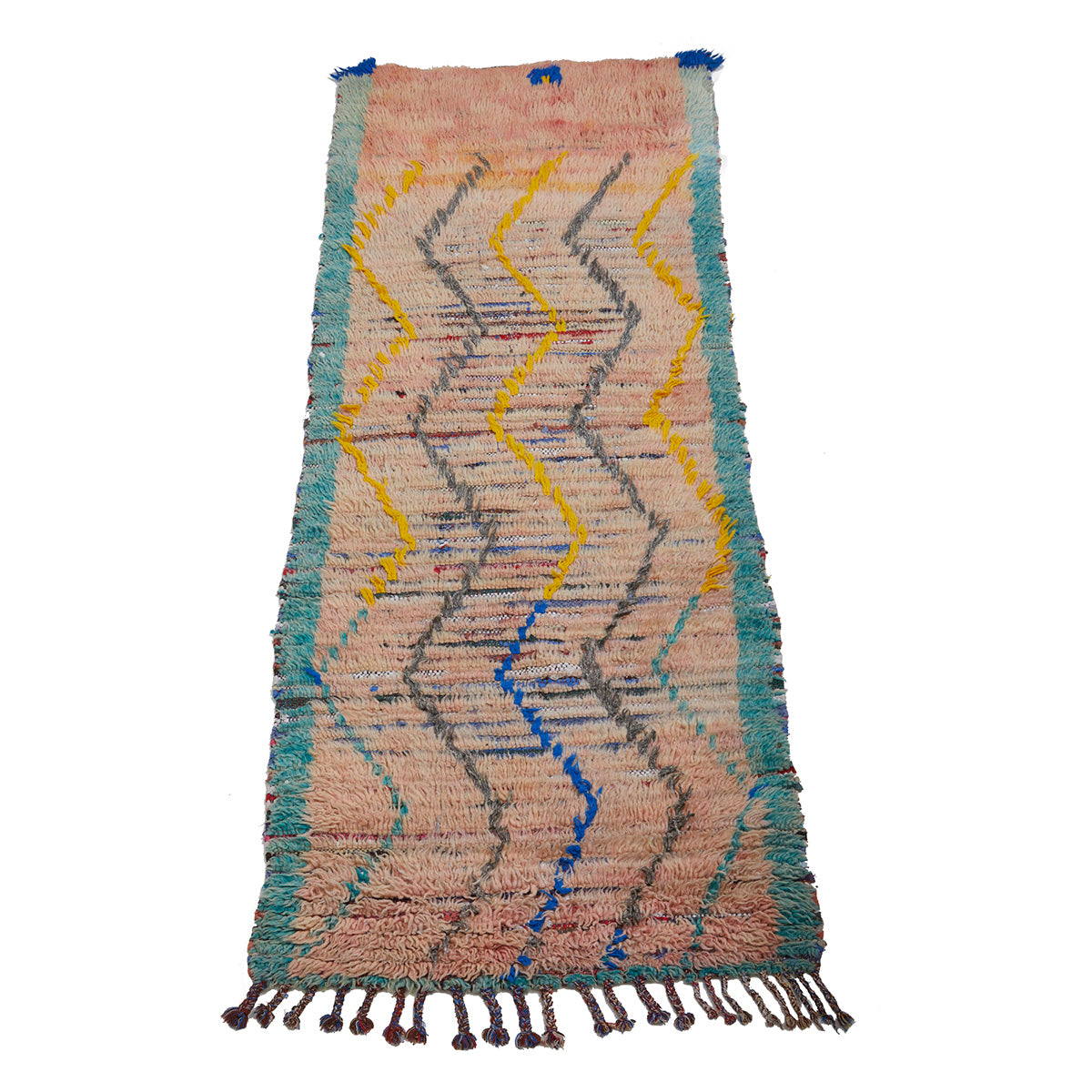 Authentic Moroccan rag rug with wavy pattern design - Kantara | Moroccan Rugs