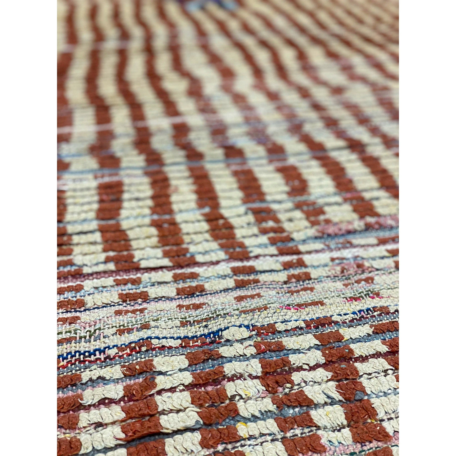 Striped berber rag rug in red and white - Kantara | Moroccan Rugs