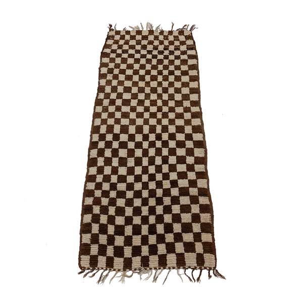 Checkerboard Moroccan boucherouite runner throw rug - Kantara | Moroccan Rugs