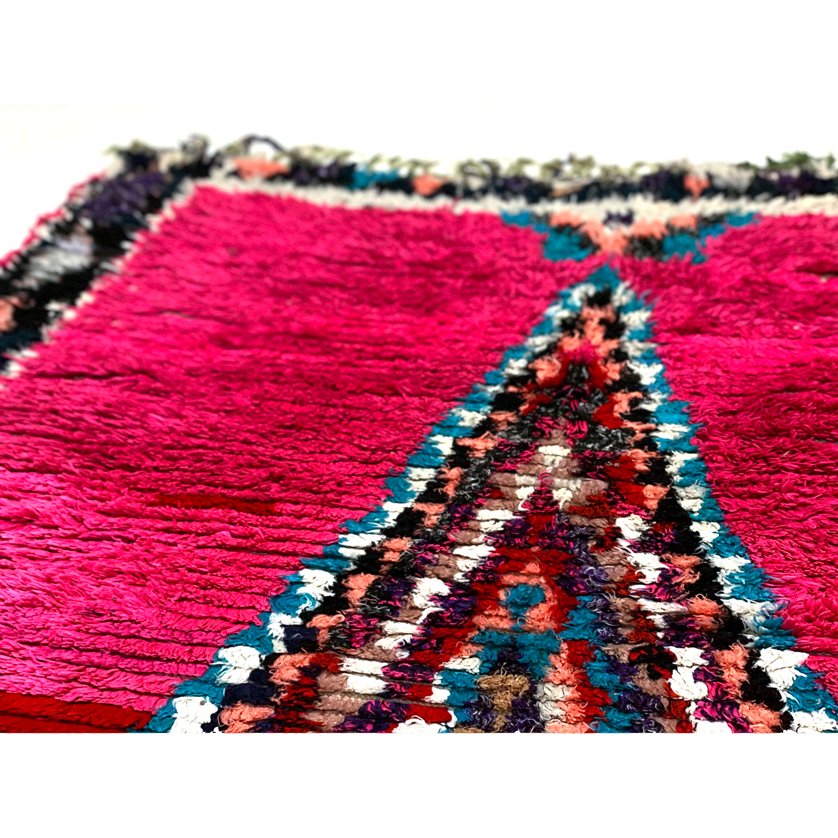 Pink Moroccan entryway rug with colorful details - Kantara | Moroccan Rugs