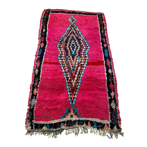 Bright pink Moroccan rag rug with diamond pattern - Kantara | Moroccan Rugs