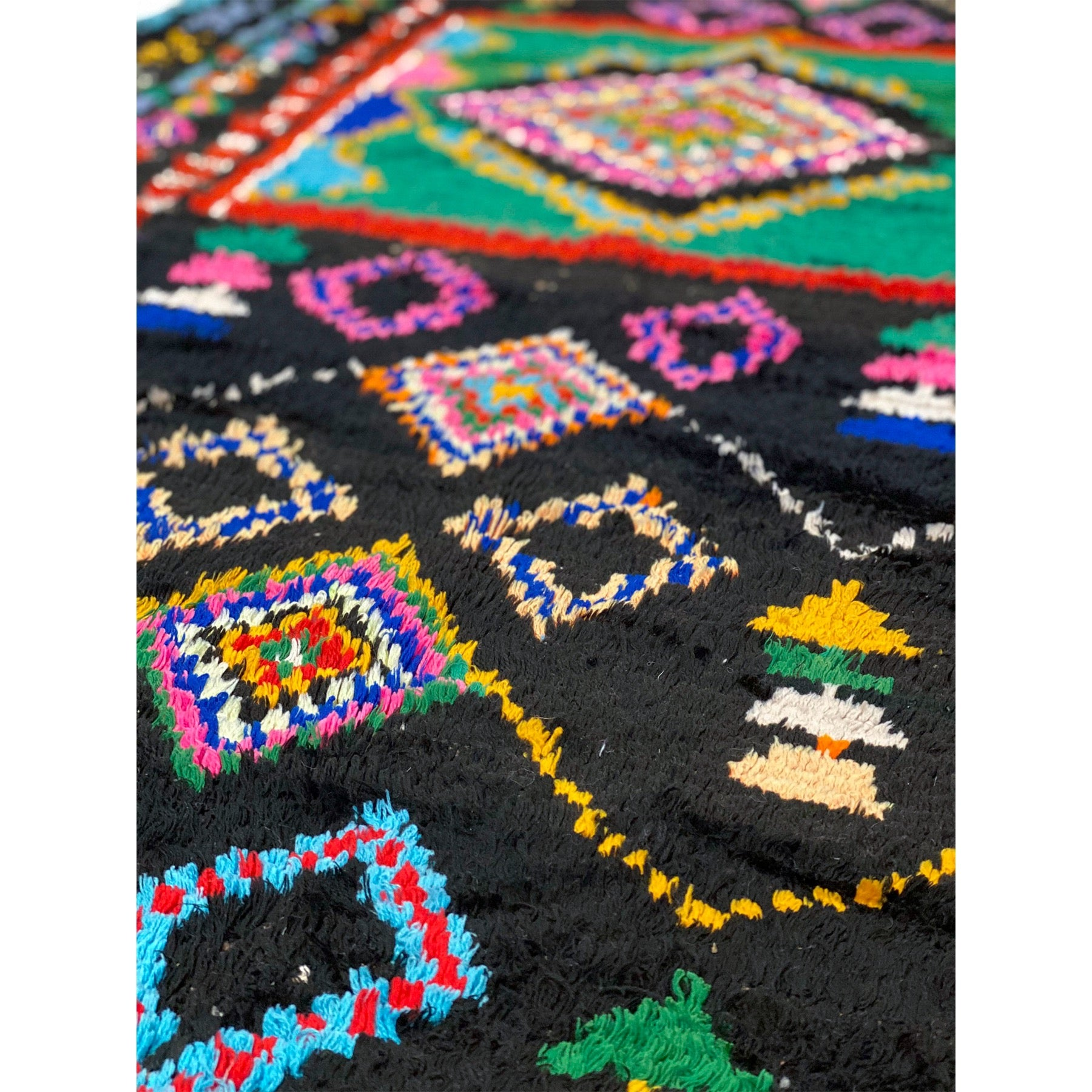 Black Moroccan rag rug with colorful details - Kantara | Moroccan Rugs