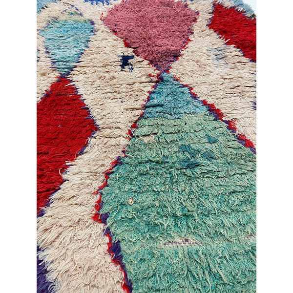 Cream colored berber throw rug with colorful details - Kantara | Moroccan Rugs