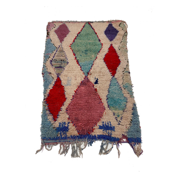 Cream colored Moroccan boucherouite rag rug with colorful diamond pattern - Kantara | Moroccan Rugs