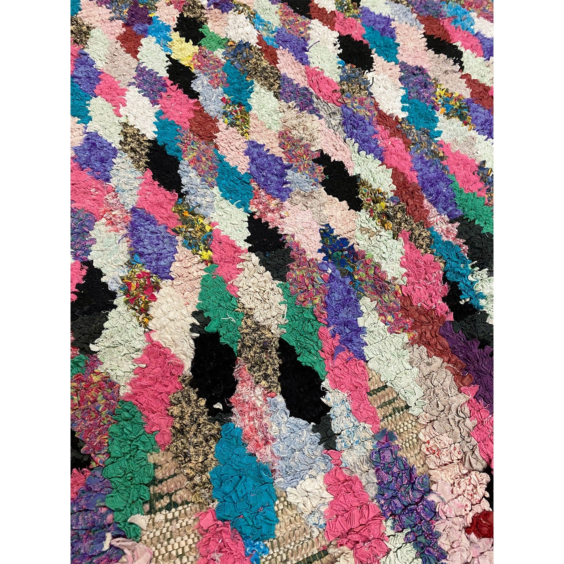 Moroccan rag rug with colorful diamond pattern - Kantara | Moroccan Rugs
