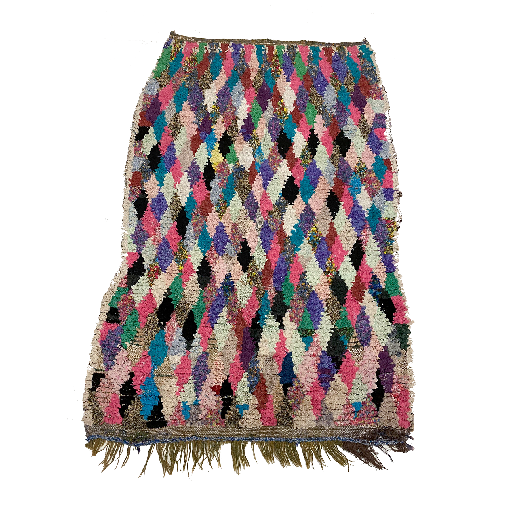 Colorful Moroccan diamond rag rug - Kantara | Moroccan Rugs