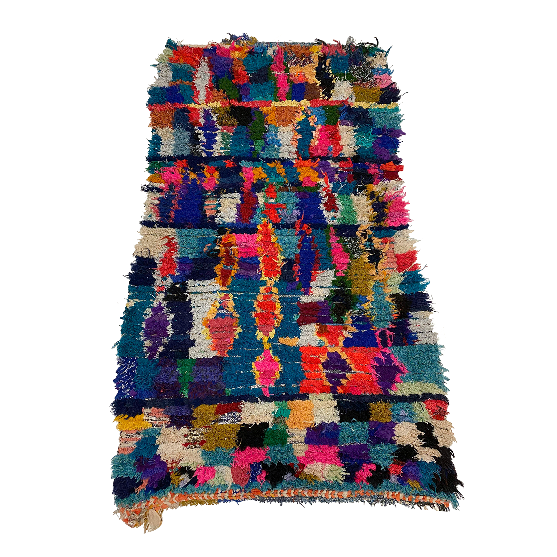 Colorful boucherouite Moroccan throw rug - Kantara | Moroccan Rugs