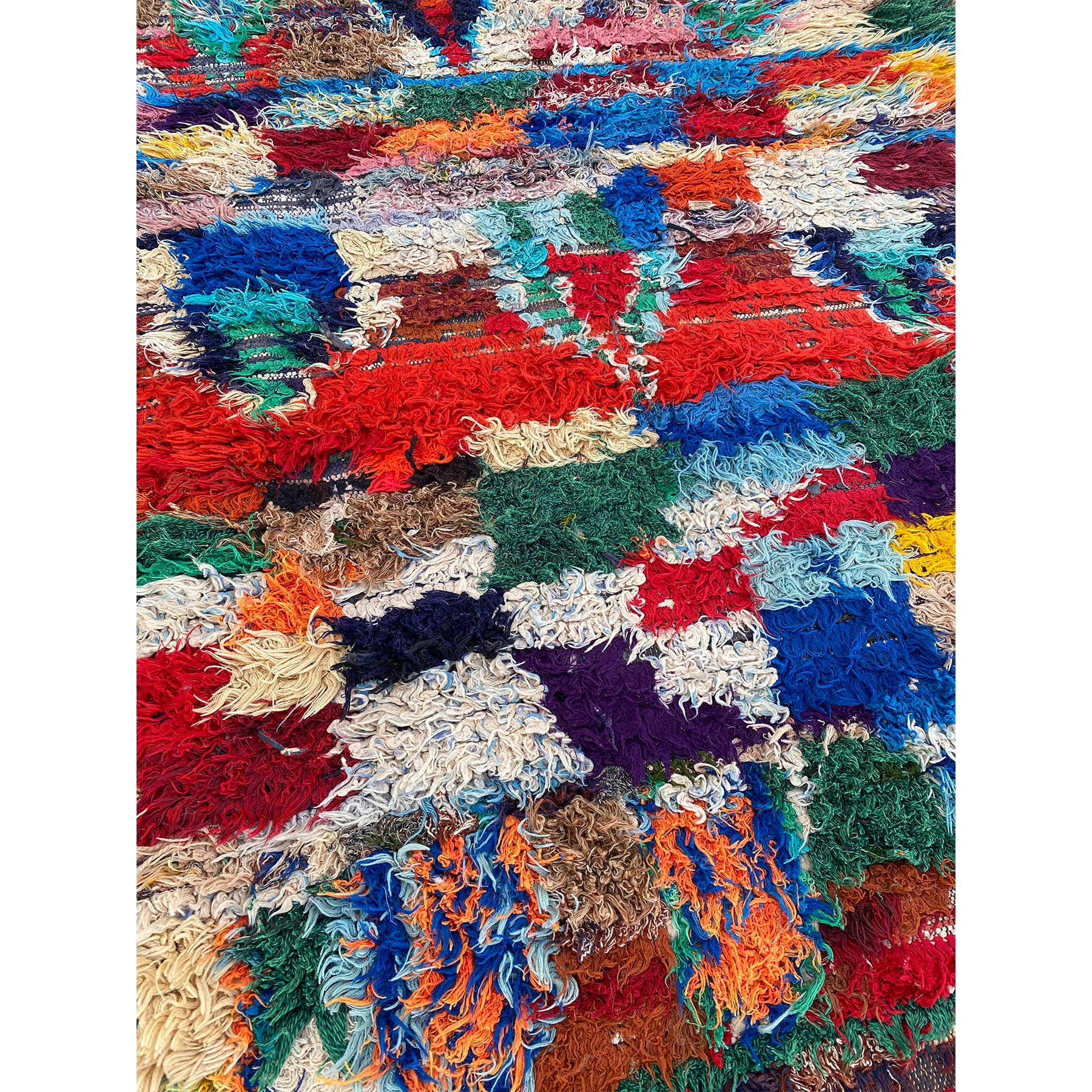 Colorful authentic Moroccan boucherouite rag rug - Kantara | Moroccan Rugs
