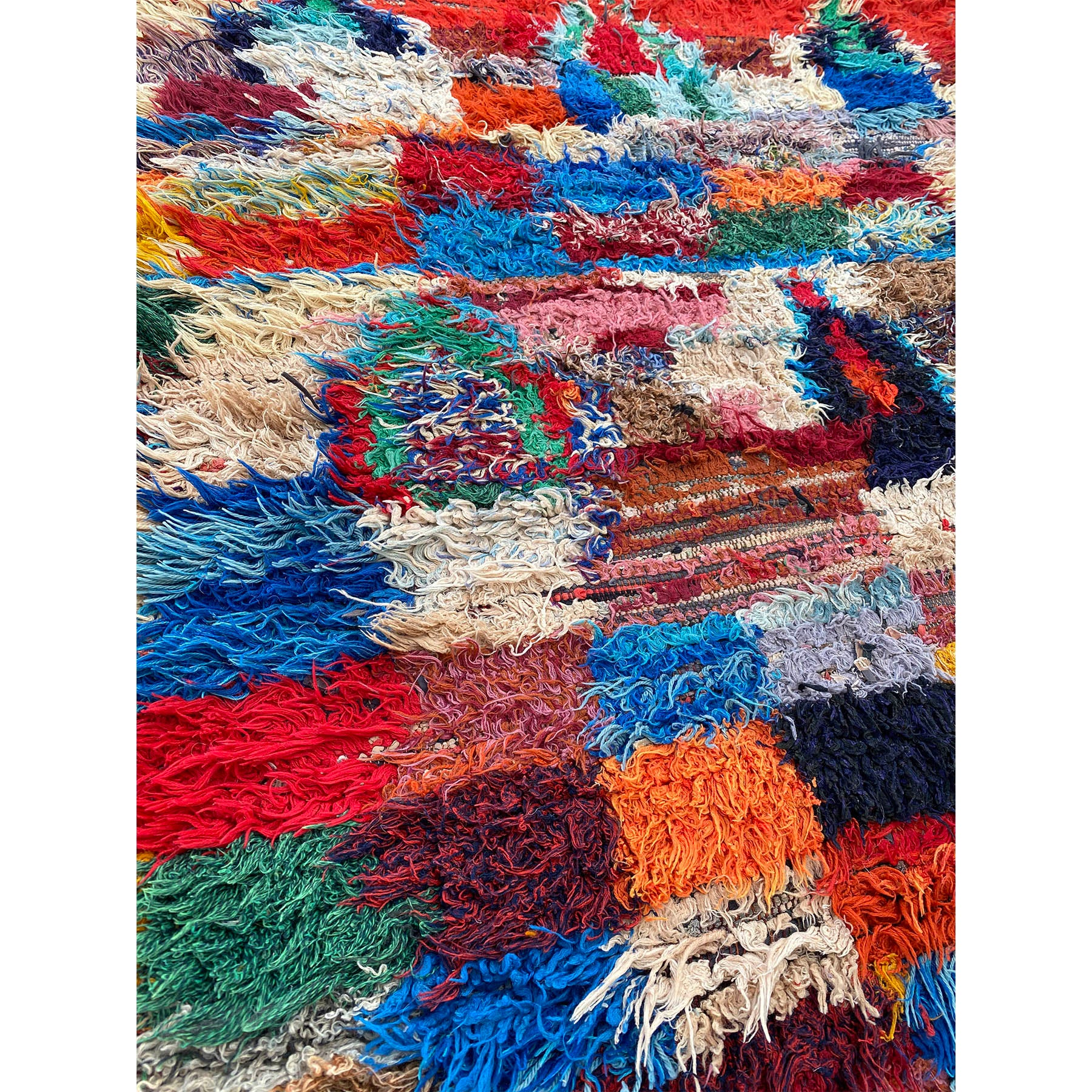 Colorful upcycled hand made Moroccan boucherouite rag rug - Kantara | Moroccan Rugs