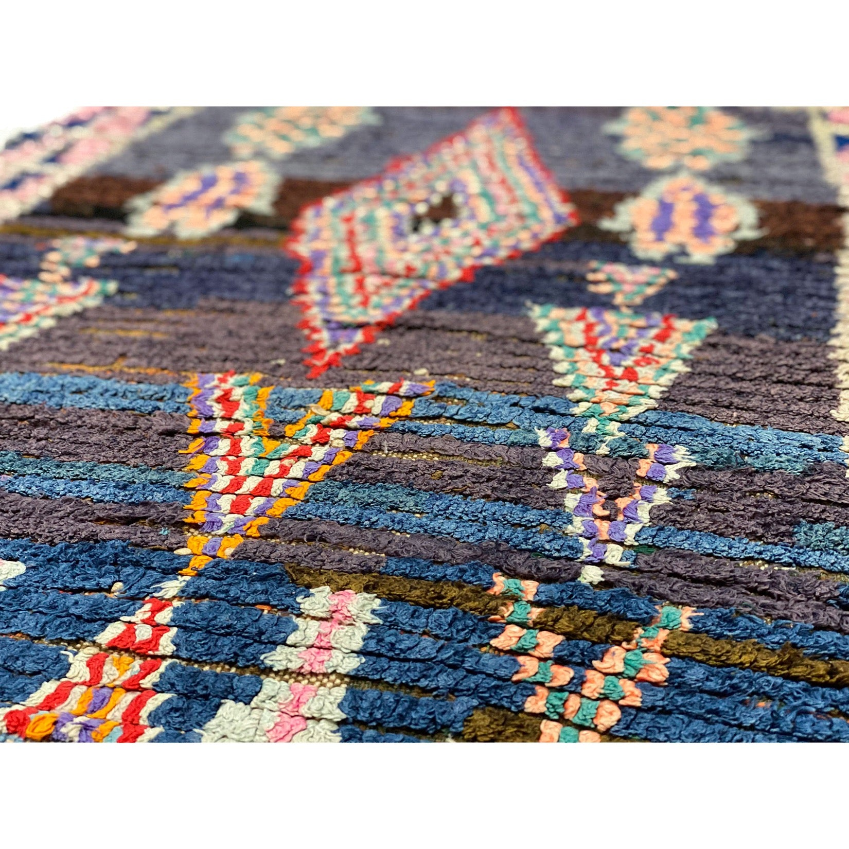 Modern Moroccan rag rug with colorful geometric design - Kantara | Moroccan Rugs