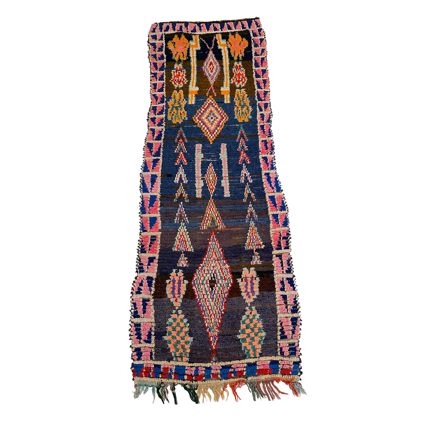 Colorful tribal Moroccan boucherouite runner rug - Kantara | Moroccan Rugs