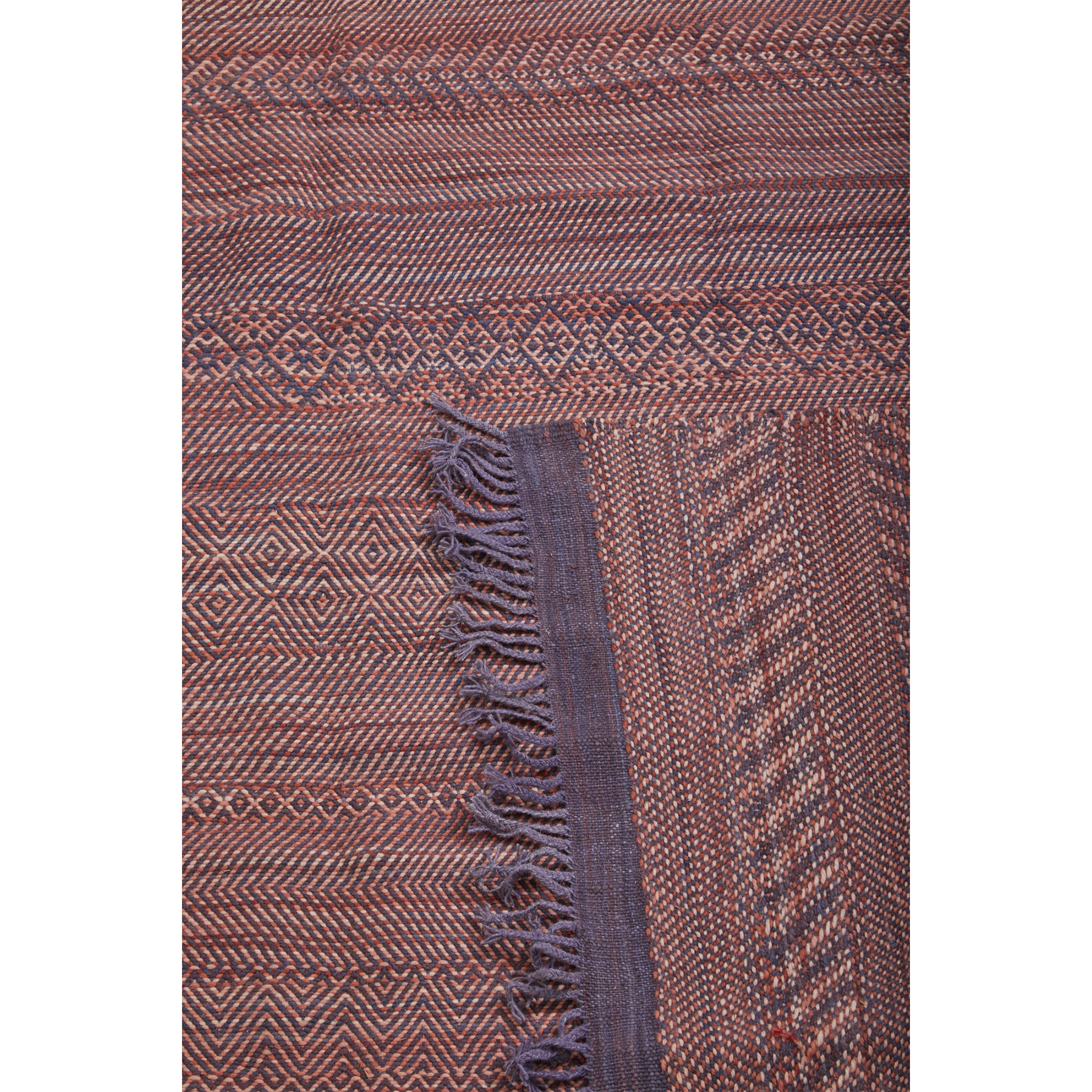 Purple fringe on Moroccan flatweave kilim