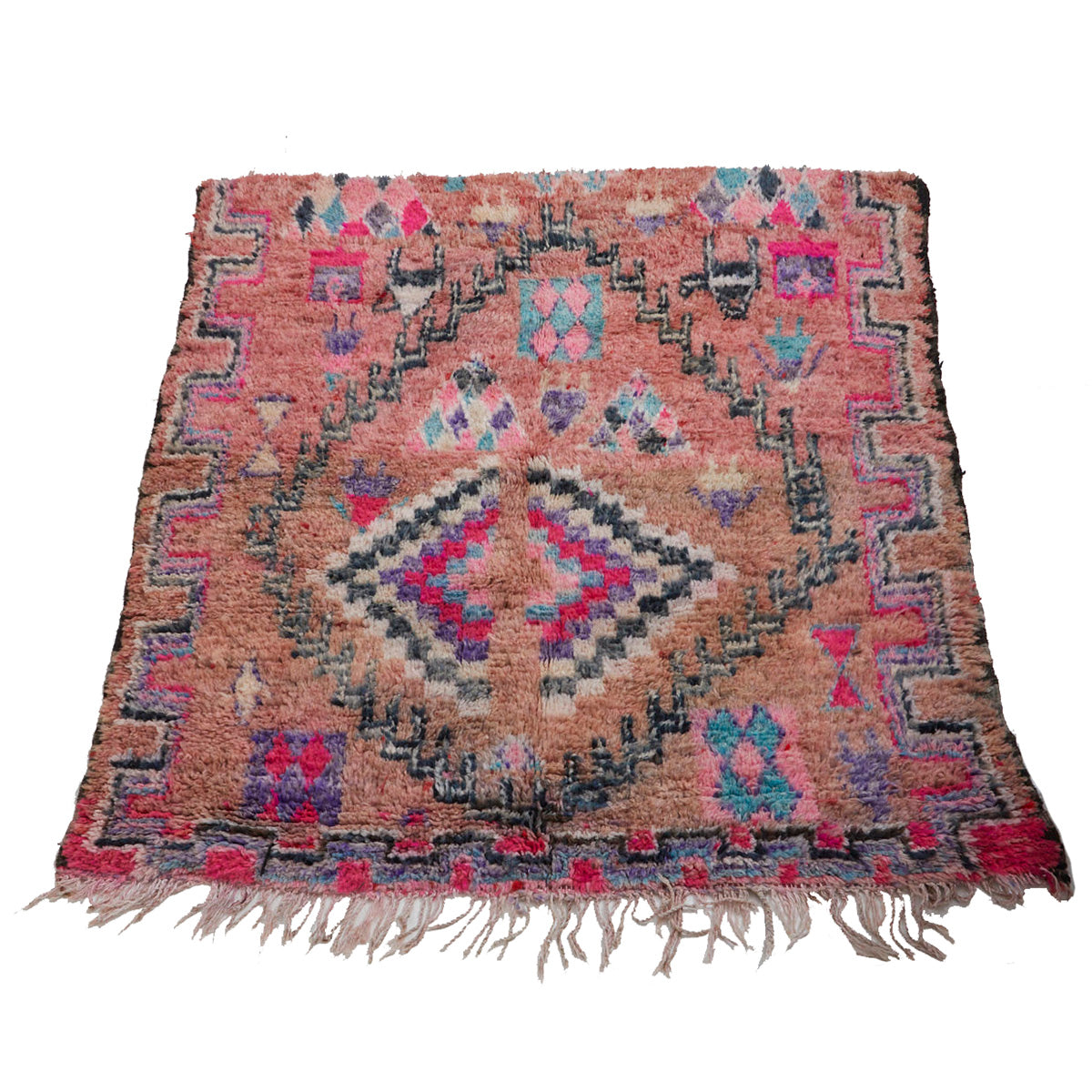 Authentic boujaad Moroccan berber carpet in pink - Kantara | Moroccan Rugs