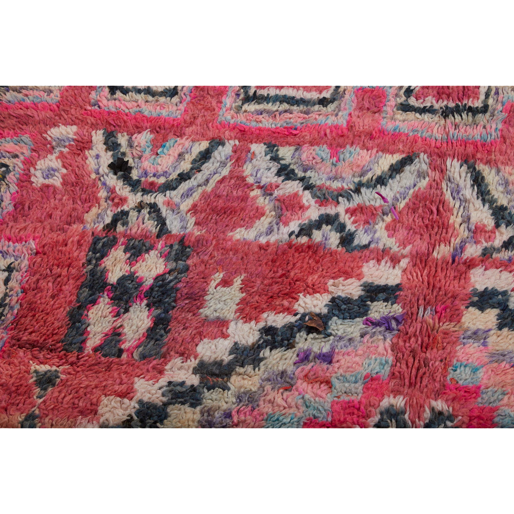 Pink geometric handknotted Moroccan rug - Kantara | Moroccan Rugs