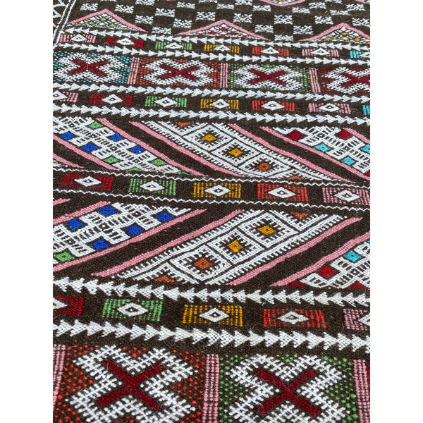 Brown flat woven Moroccan berber kilim throw rug - Kantara | Moroccan Rugs