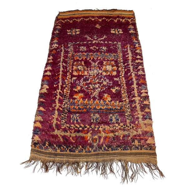 Purple Moroccan entryway rug with orange and beige details - Kantara | Moroccan Rugs