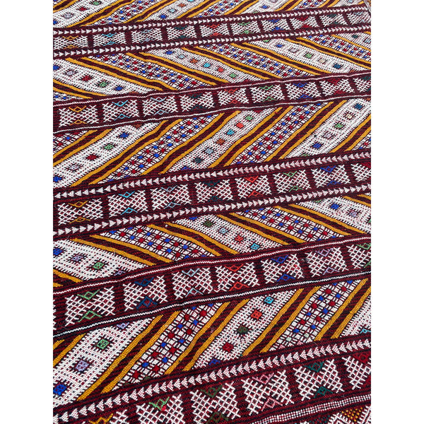 Bright red Moroccan flatweave kilim with gold details - Kantara | Moroccan Rugs